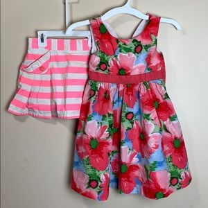 Girls size 5 Floral Dress & pink & white skirt